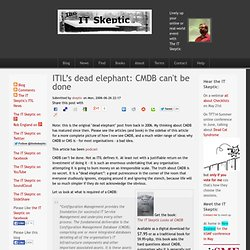 ITIL's dead elephant: CMDB can't be done