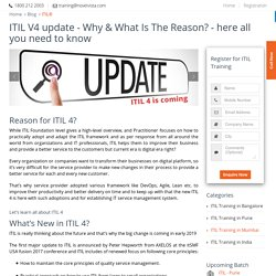 ITIL 4 Update is Rolling Out - Here all you need to know