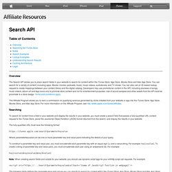 iTunes, App Store, iBookstore, and Mac App Store Affiliate Resources - Search API