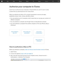 iTunes Store: About authorization and deauthorization