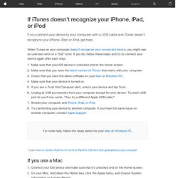 If iTunes doesn't recognize your iPhone, iPad, or iPod