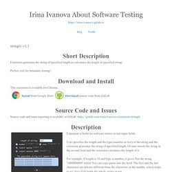 Irina Ivanova About Software Testing: stringG v3.3