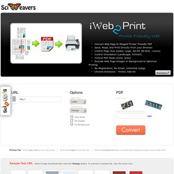 iWeb2Print - Free Online Web Page to Printer Friendly PDF