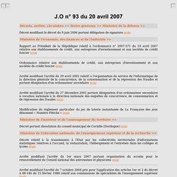 J.O n° 93 du 20 avril 2007