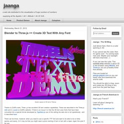 jaanga: Blender to Three.js >> Create 3D Text With Any Font