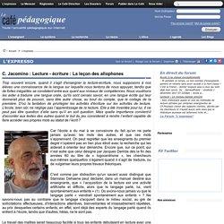 C. Jacomino : Lecture - écriture : La leçon des allophones