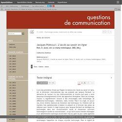Solenn - Jacques Perriault, L'accès au savoir en ligne