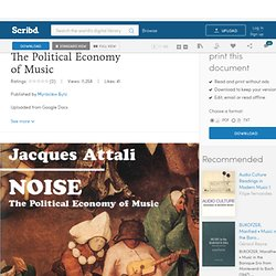 Jacques Attali - NOISE - The Political Economy of Music