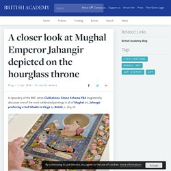 A closer look at Mughal Emperor Jahangir depicted on the hourglass throne
