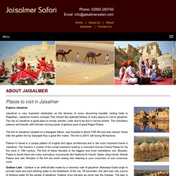 Jaisalmer Tourist Places - Places to Visit in Jaisalmer