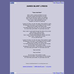 JAMES BLUNT LYRICS - Tears And Rain