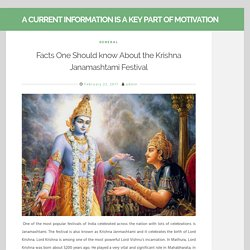 Some Facts Should Know About Krishna Janamashtami Festival