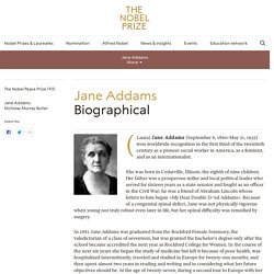 Jane Addams - Biographical