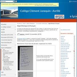 Collège Clément Janequin - Avrillé - Algorithmique et français