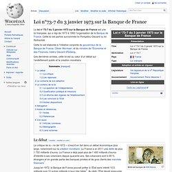 Loi n°73-7 du 3 janvier 1973 sur la Banque de France