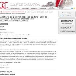 Arrêt n°1 du 5 janvier 2017 (16-12.394) - Cour de cassation - Deuxième chambre civile - ECLI:FR:CCASS:2017:C200001