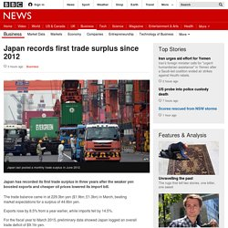 Japan records first trade surplus since 2012 - BBC News