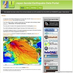 Japan Sendai Earthquake Data Portal