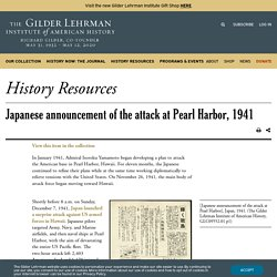 Japanese announcement of the attack at Pearl Harbor, 1941 (with translation)