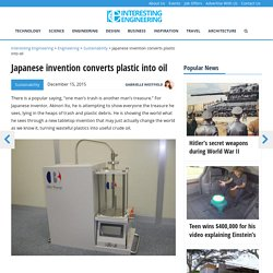 Japanese invention converts plastic into oil