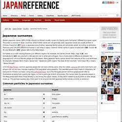 Japanese Surnames - Japan Portal