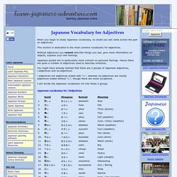 Japanese Vocabulary for Adjectives