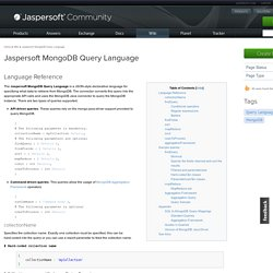 Jaspersoft MongoDB Query Language