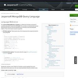 Jaspersoft MongoDB Query Language