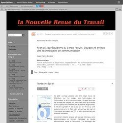 Usages et enjeux des technologies de communication - Francis Jauréguiberry & Serge Proulx