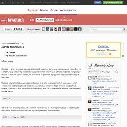 Java массивы / Статьи