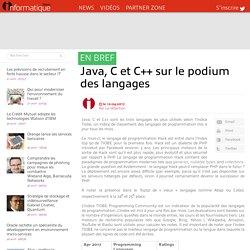 Java, C et C++ sur le podium des langages