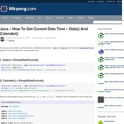 Java – How to get current date time – date() and calender()