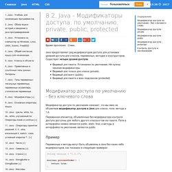 Java - Модификаторы доступа / ProgLang