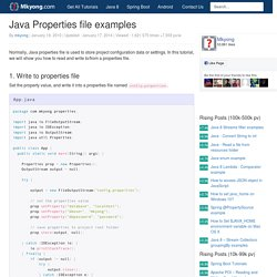 Java Properties file examples