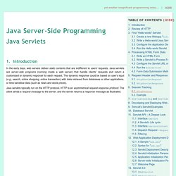 Java Servlets - A Tutorial
