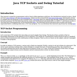 Java TCP Sockets and Swing Tutorial