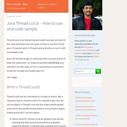 Java Thread Local – How to use and code sample