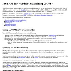 Java API for WordNet Searching (JAWS)