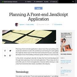 Planning A Front-end JavaScript Application -Telerik Developer Network