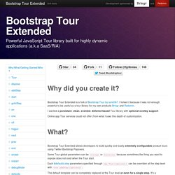 Bootstrap Tour Extended - Powerful JavaScript Tour library built for highly dynamic applications (a.k.a SaaS/RIA)