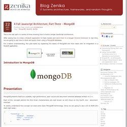 A Full Javascript Architecture, Part Three - MongoDB