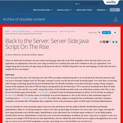 Back to the Server: Server-Side JavaScript On The Rise - Archive of obsolete content