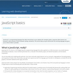 JavaScript basics - Learning the Web
