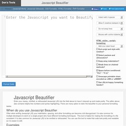 Javascript Beautifier and Formatter Online