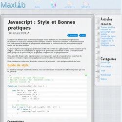Javascript : Style et Bonnes pratiques