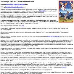 Javascript D&D 3.5 Character Generator