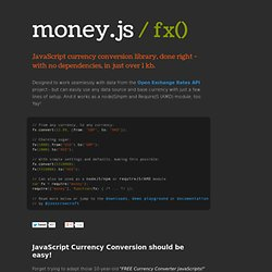 money.js / fx() - javascript currency conversion library