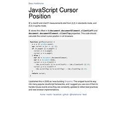 JavaScript Cursor Position