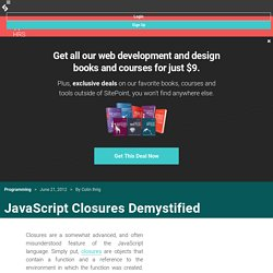 JavaScript Closures Demystified