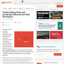Useful Coding Tools and JavaScript Libraries For Web Developers - Smashing Magazine